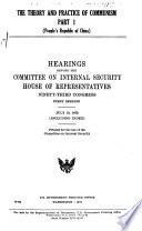 Hearings, Reports and Prints of the House Committee on Internal Security
