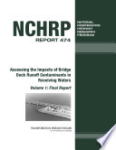Assessing The Impacts Of Bridge Deck Runoff Contaminants In Receiving Waters Book PDF