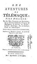 Les aventures de Télémaque, fils d'Ulisse, par feu Mre. François de Salygnac, de la Motthe-Fénélon ..