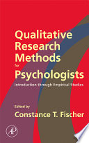 Qualitative Research Methods for Psychologists Book