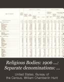 Religious Bodies 1906 Separate Denominations History Description And Statistics
