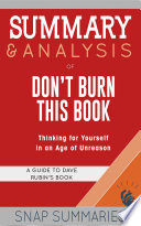 Summary   Analysis of Don t Burn This Book