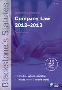 Blackstone's Statutes on Company Law 2012-2013