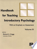 Handbook for Teaching Introductory Psychology Book
