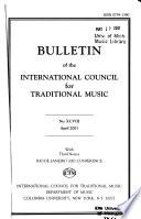 Bulletin of the International Council for Traditional Music