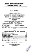 Energy And Water Development Appropriations For 1986