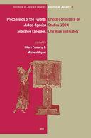 Proceedings of the Twelfth British Conference on Judeo SpanishStudies  24 26 June  2001