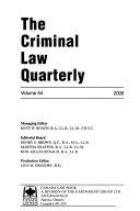 The Criminal Law Quarterly