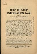 How to Stop Internation War