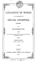 A catalogue of works in all departments of English literature