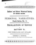 Recollections of Service in Battery D, First Rhode Island Light Artillery