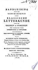 Handleiding Tot De Geschiedenis Der Klassische Letterkunde Van De Grieken En Romeinen