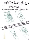 Public Hearing Record For The Public Hearings Held August 3 4 5 And 6 1993