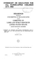 Oversight on Education for All Handicapped Children Act  1982