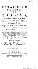 Catalogue d'une belle collection de livres, ... délaissés par feu Mr. Raelens, ... et par feu Mr. Vanden Bossche