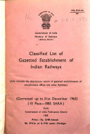 Classified List Of Establishment Of Indian Railways And Distribution Return Of Establishment Corrected Up To 30th June 1900