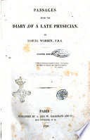 Passages from the diary of a late physician by Samuel Warren, F.R.S Pdf/ePub eBook