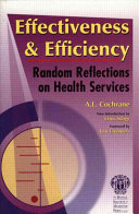 Effectiveness   Efficiency  Random Reflections on Health Services Book