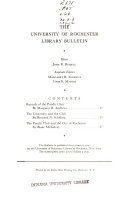 The University Of Rochester Library Bulletin