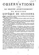 Observations sur le second avertissement de monsieur l'evêque de Soissons