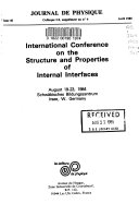 International Conference on the Structure and Properties of Internal Interfaces