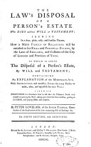 Pdf The Law's Disposal of a Person's Estate who Dies Without Will Or Testament