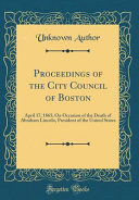 Proceedings Of The City Council Of Boston