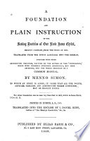 A Foundation And Plain Instruction Of The Saving Doctrine Of Our Lord Jesus Christ