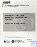 Humboldt County as a Renewable Energy Secure Community