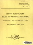 List of Publications Issued by the Bureau of Mines from July 1  1910  to January 1  1960