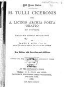 M  Tulli Ciceronis Pro A  Licinio Archia poeta oratio ad iudices
