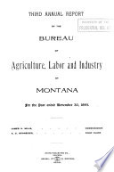 Report of the Bureau of Agriculture Labor and Industry of the State of Montana