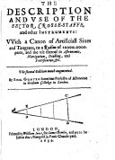 The Description and Vse of the Sector  Crossestaffe   Other Instruments