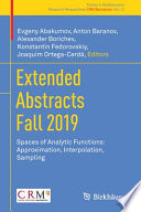 Extended Abstracts Fall 2019