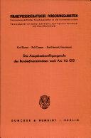 Das Ausgabenbewilligungsrecht des Bundesfinanzministers nach Art. 112 GG