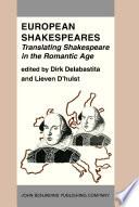 European Shakespeares  Translating Shakespeare in the Romantic Age