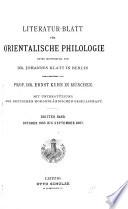 Literatur-Blatt für orientalische Philologie