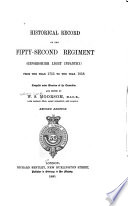 Historical Record of the Fifty-second Regiment (Oxfordshire Light Infantry)