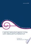 Mathematical Programming with Data Perturbations II  Second Edition