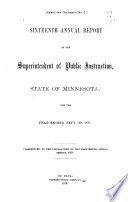 Annual Report of the Superintendent of Public Instruction for the State of Minnesota for the Year Ending Sept  30