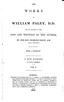 The Works of William Paley     A New Edition  in Four Volumes   With a Portrait