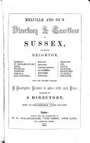 Melville and Co  s Directory   Gazetteer of Sussex  Containing Brighton  Hastings  St  Leonards on Sea