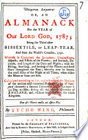 Olympia D Mata Or An Almanack For The Year Of Our Lord God 1787