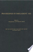 Proceedings in Parliament 1625