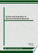 Testing And Evaluation Of Advanced Building Materials Book PDF