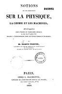 Notions les plus essentielles sur la physique, la chimie et les machines...