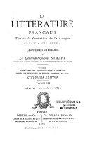 La littérature française depuis la formation de la langue jusqu'à nos jours
