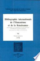 Bibliographie Internationale de l''Humanisme et de la Renaissance