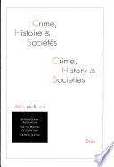 Crime Histoire Et Soci T S 2001 2