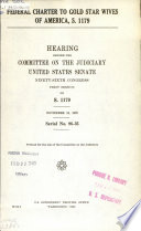 Federal Charter to Gold Star Wives of America  S  1179 Book